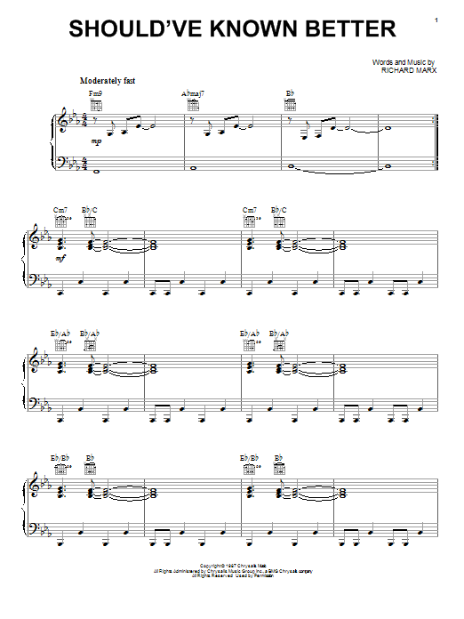 Richard Marx Should've Known Better sheet music notes and chords. Download Printable PDF.