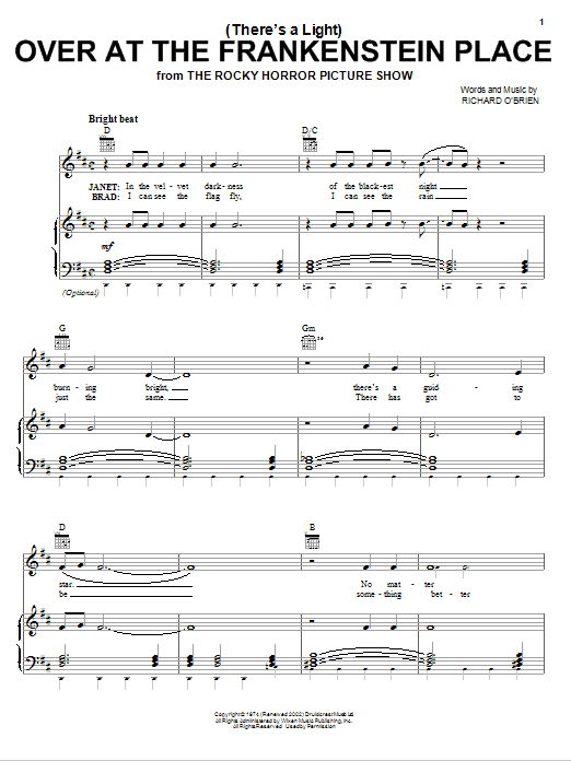 Richard O'Brien (There's A Light) Over At The Frankenstein Place sheet music notes and chords