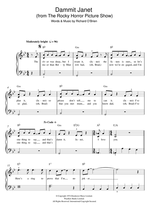 Richard O'Brien Dammit Janet (from The Rocky Horror Picture Show) sheet music notes and chords. Download Printable PDF.