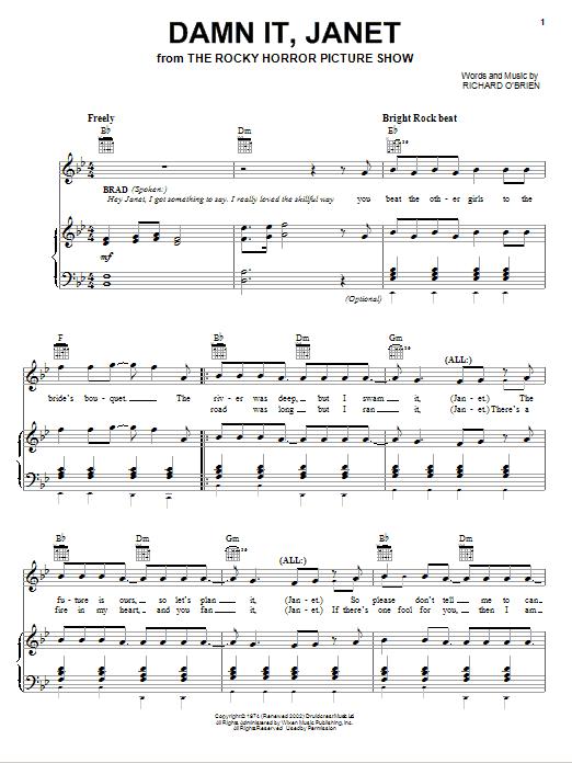 Richard O'Brien Damn It, Janet sheet music notes and chords