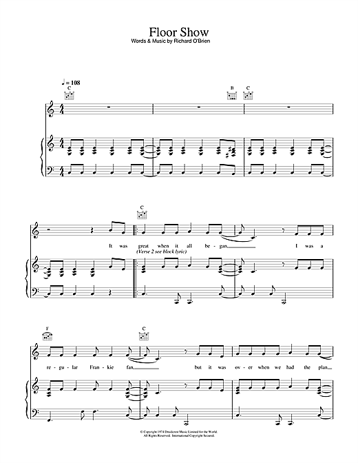Richard O'Brien Floor Show (from The Rocky Horror Picture Show) sheet music notes and chords