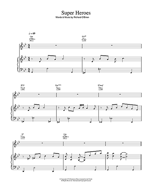 Richard O'Brien Super Heroes (from The Rocky Horror Picture Show) sheet music notes and chords