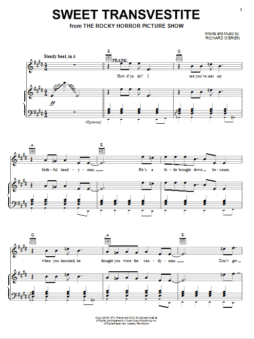 Richard O Brien Sweet Transvestite sheet music notes and chords
