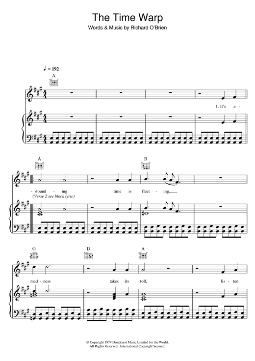 Richard O'Brien The Time Warp (from The Rocky Horror Picture Show) sheet music notes and chords. Download Printable PDF.