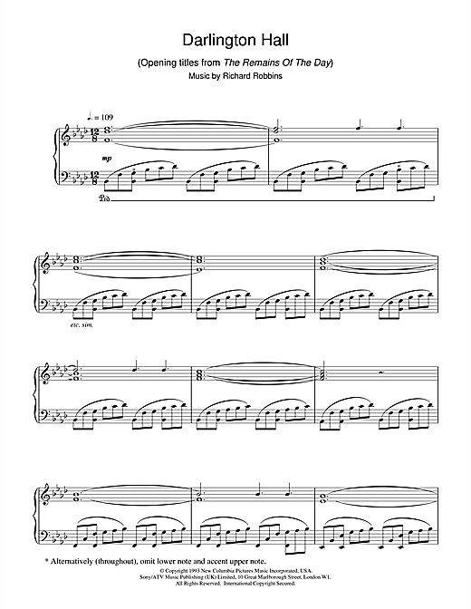 Richard Robbins Darlington Hall (Opening Titles from The Remains Of The Day) sheet music notes and chords. Download Printable PDF.