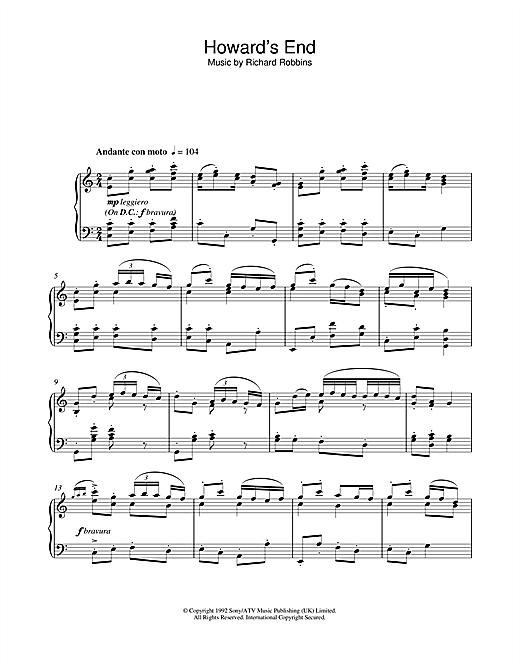 Richard Robbins Howard's End (Closing Credits) sheet music notes and chords. Download Printable PDF.