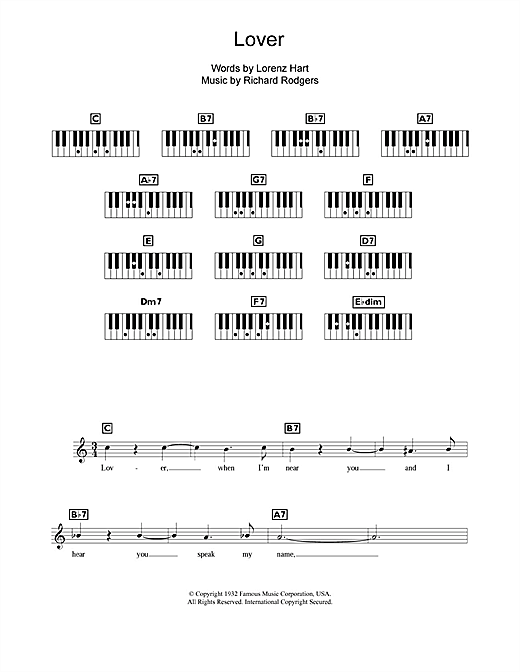 Richard Rodgers Lover sheet music notes and chords. Download Printable PDF.