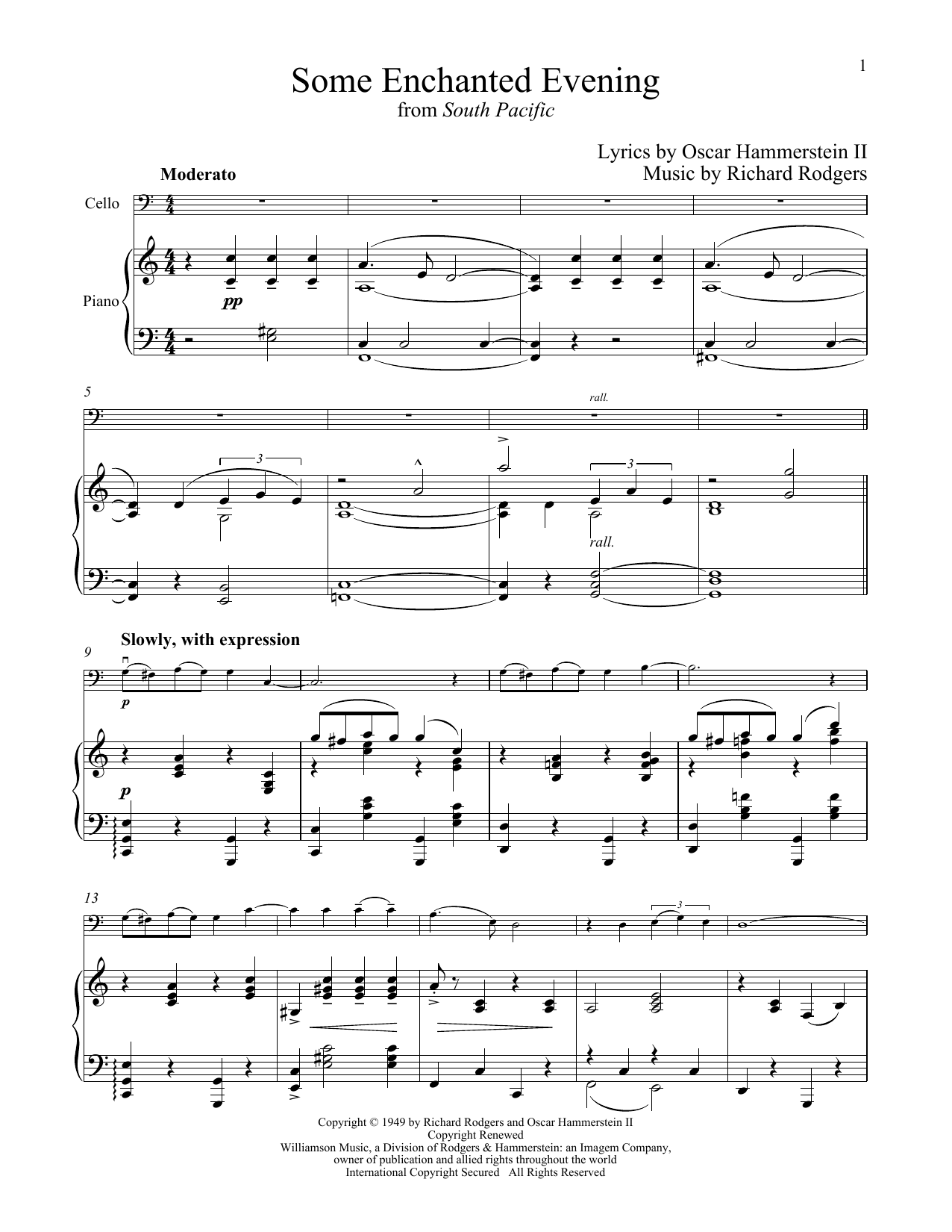 Richard Rodgers Some Enchanted Evening (from South Pacific) sheet music notes and chords. Download Printable PDF.