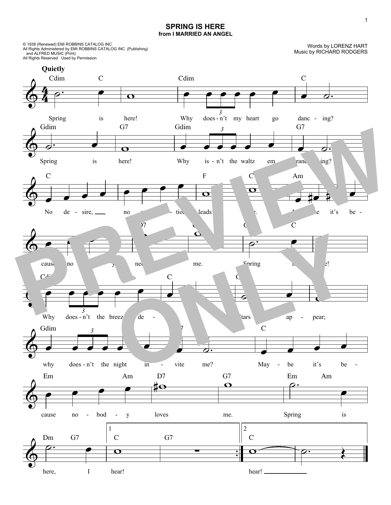 Richard Rodgers Spring Is Here sheet music notes and chords. Download Printable PDF.