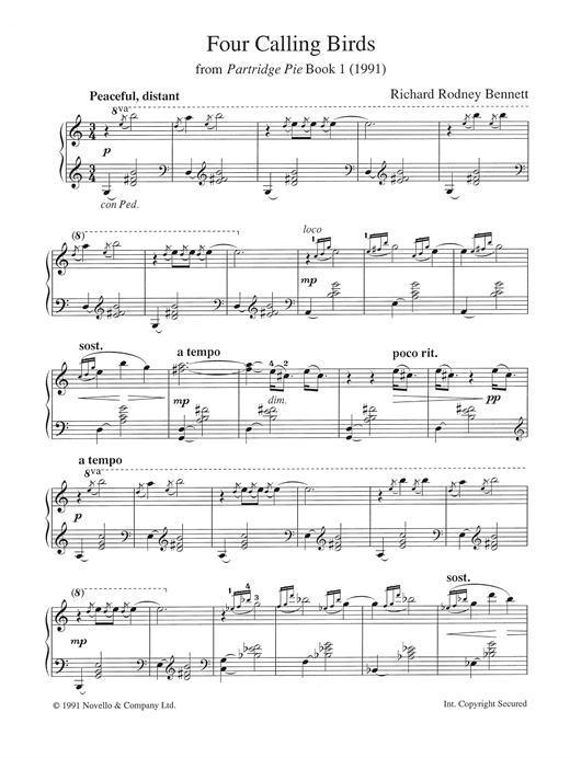 Richard Rodney Bennett Four Calling Birds (from 'Partridge Pie Book 1') sheet music notes and chords. Download Printable PDF.