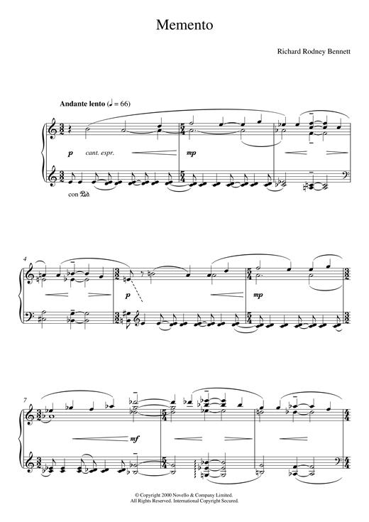 Richard Rodney Bennett Memento sheet music notes and chords