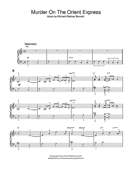 Richard Rodney Bennett Murder On The Orient Express sheet music notes and chords. Download Printable PDF.