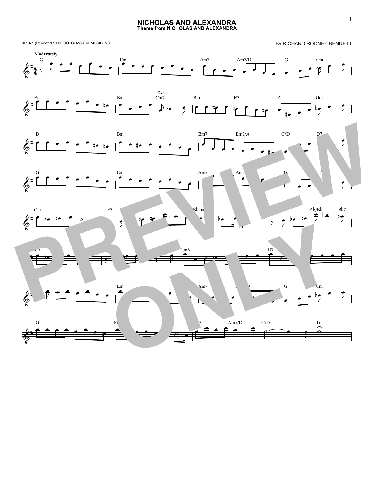 Richard Rodney Bennett Nicholas And Alexandra sheet music notes and chords. Download Printable PDF.