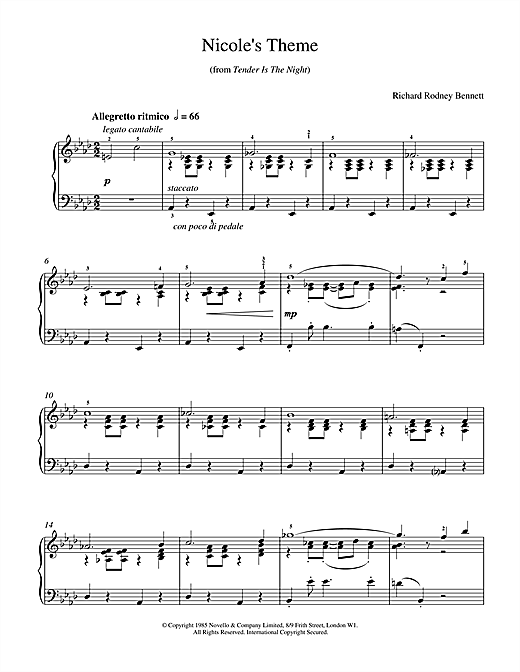 Richard Rodney Bennett Nicole's Theme sheet music notes and chords