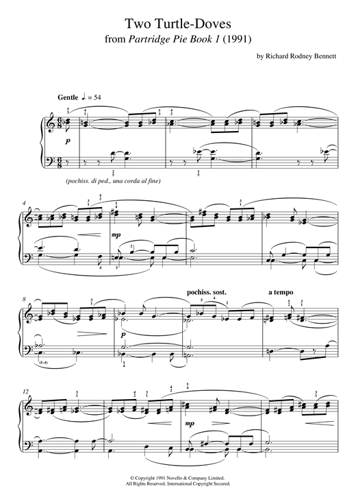 Richard Rodney Bennett Two Turtle Doves (From Partridge Pie) sheet music notes and chords. Download Printable PDF.