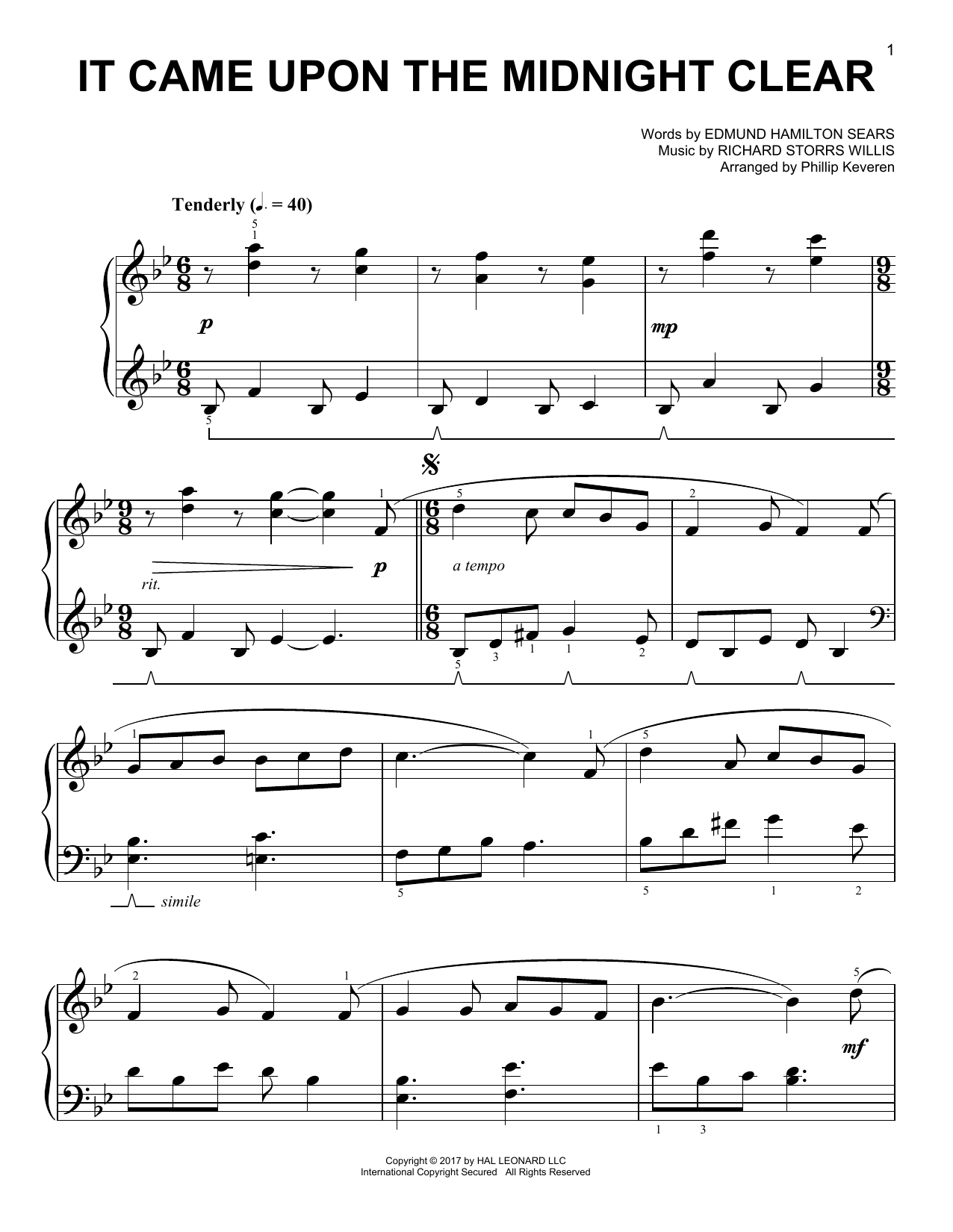 Richard Storrs Willis It Came Upon The Midnight Clear [Classical version] (arr. Phillip Keveren) sheet music notes and chords. Download Printable PDF.