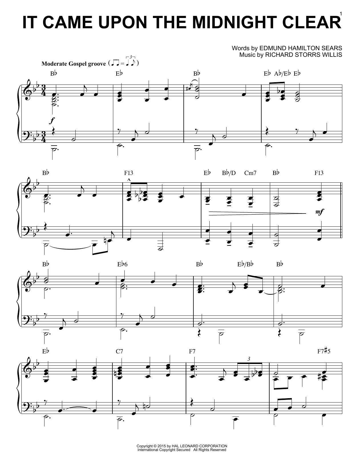 Richard Storrs Willis It Came Upon The Midnight Clear [Jazz version] (arr. Brent Edstrom) sheet music notes and chords. Download Printable PDF.
