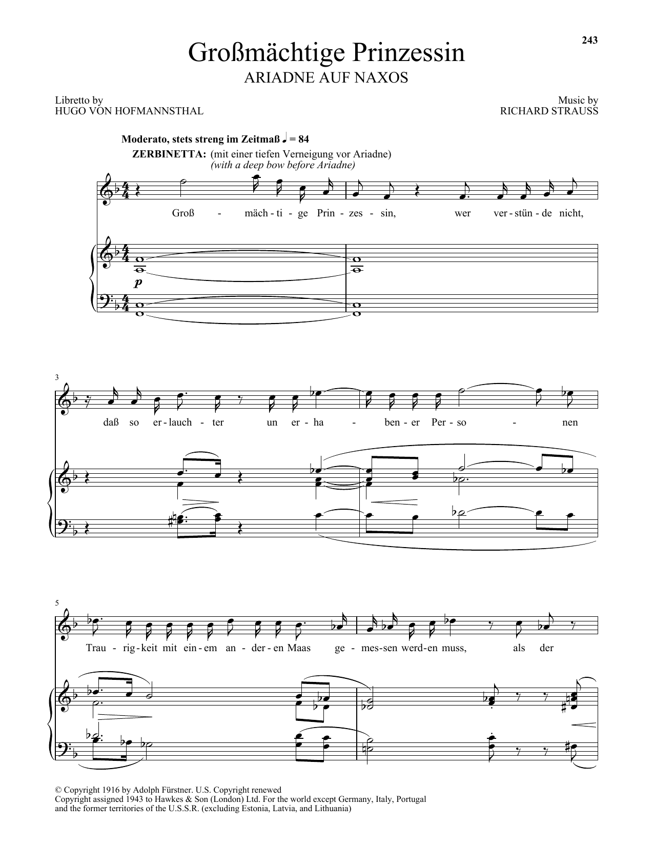 Richard Strauss Grossmatige Prinzessin (from Ariadne auf Naxos) sheet music notes and chords. Download Printable PDF.