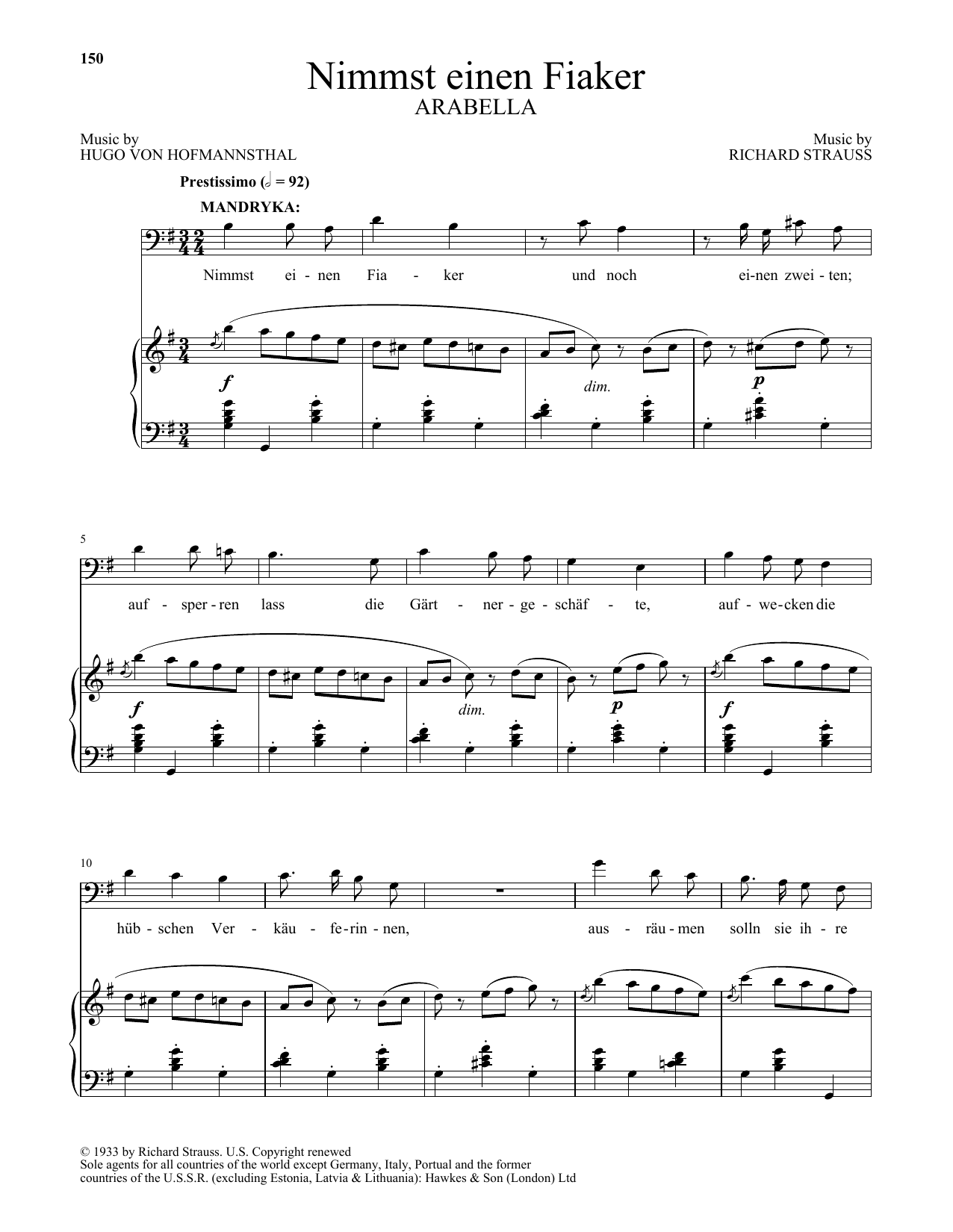 Richard Strauss Nimmst einen Fiaker (from Arabella) sheet music notes and chords. Download Printable PDF.