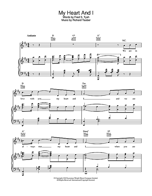 Richard Tauber My Heart And I sheet music notes and chords. Download Printable PDF.
