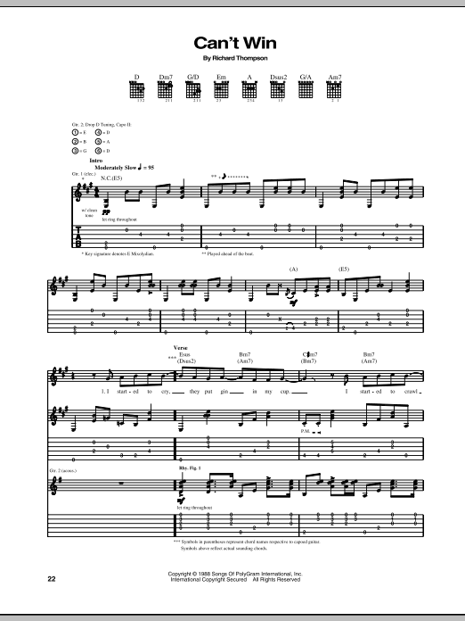 Richard Thompson Can't Win sheet music notes and chords. Download Printable PDF.