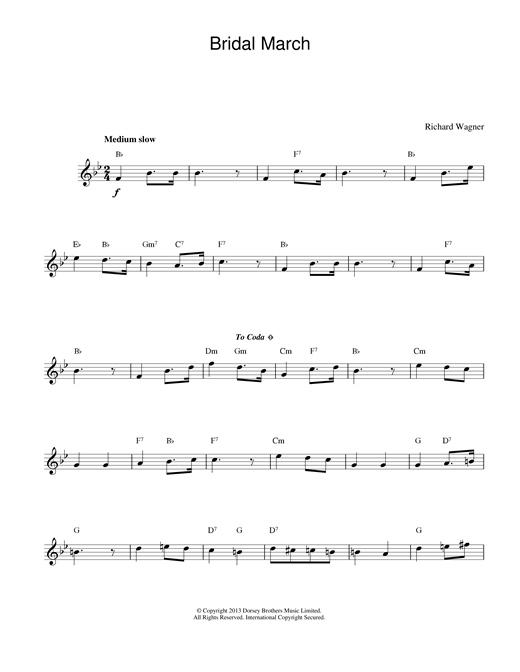 Richard Wagner Bridal March sheet music notes and chords. Download Printable PDF.