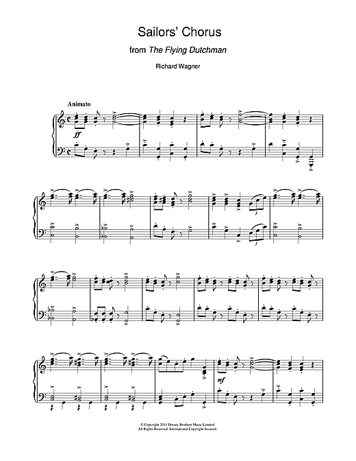 Richard Wagner Sailors' Chorus (from The Flying Dutchman) sheet music notes and chords. Download Printable PDF.
