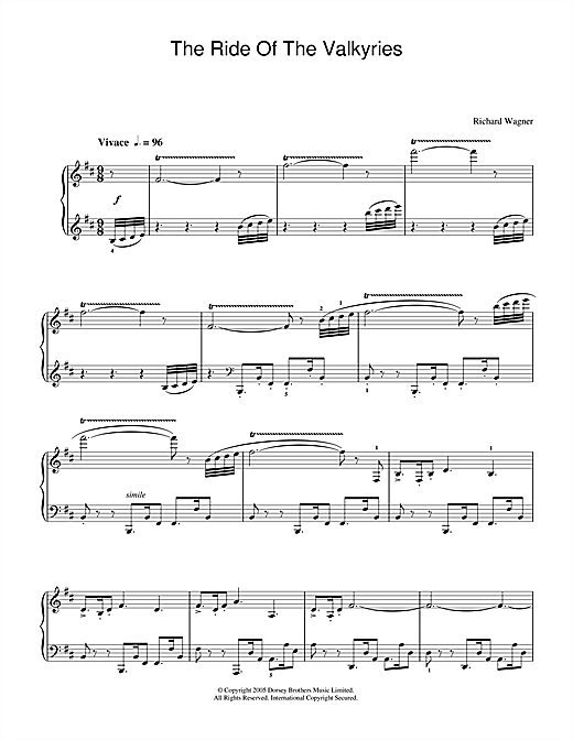 Richard Wagner The Ride Of The Valkyries sheet music notes and chords