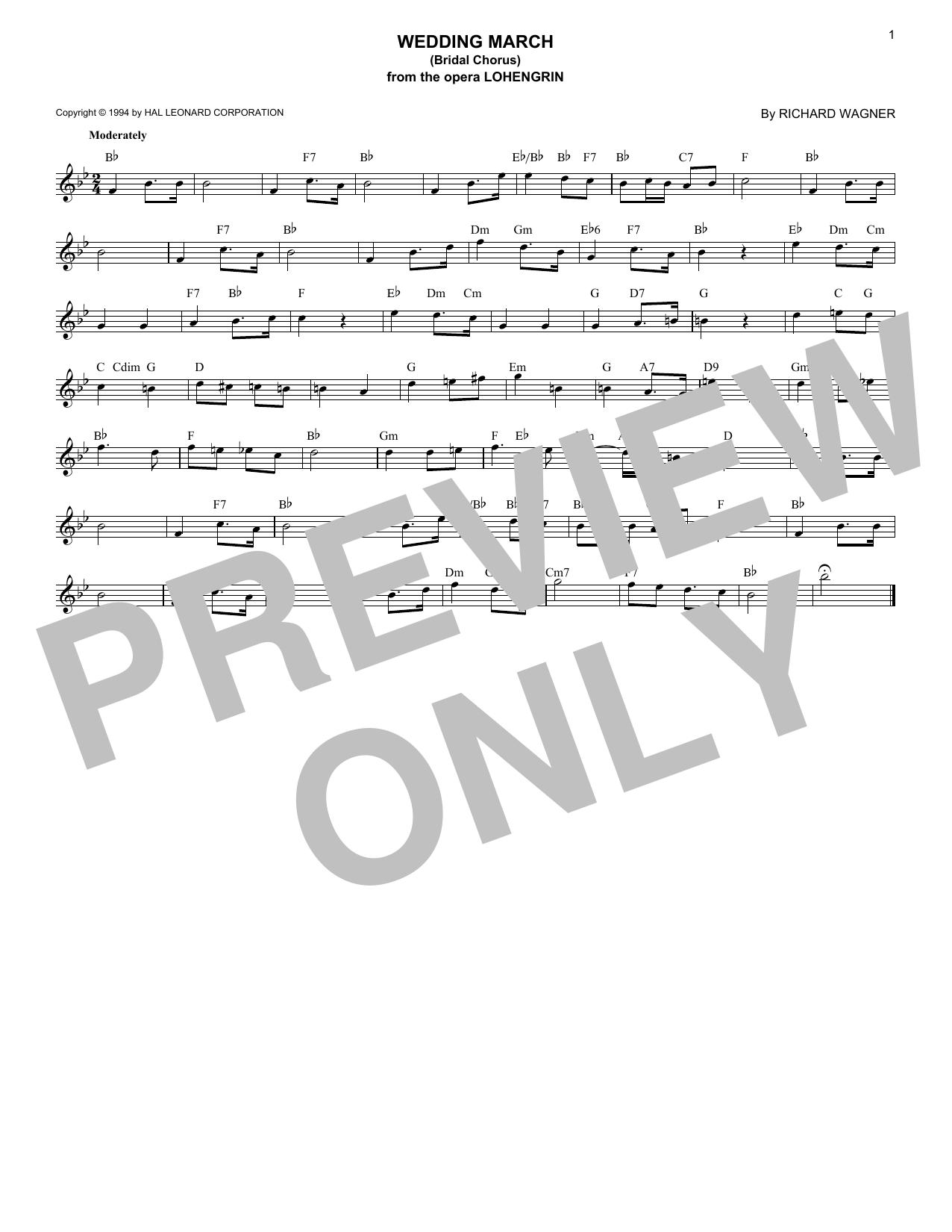 Richard Wagner Wedding March (Bridal Chorus) sheet music notes and chords