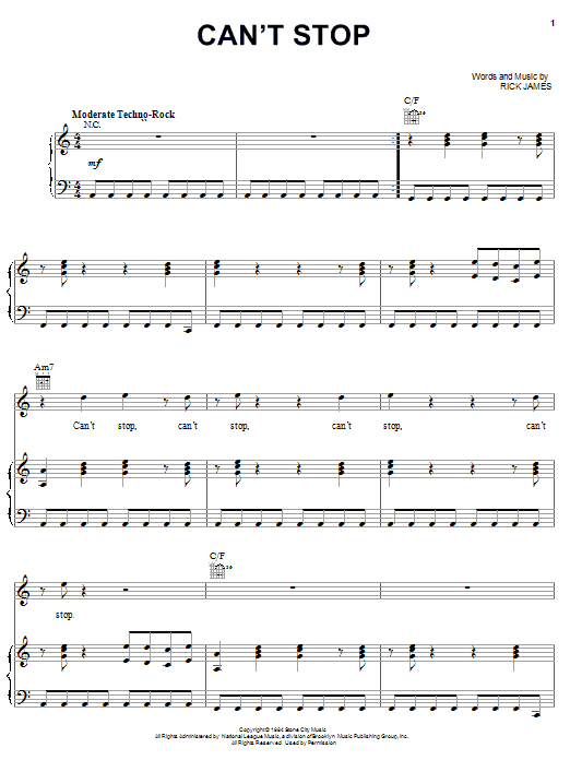 Rick James Can't Stop sheet music notes and chords. Download Printable PDF.