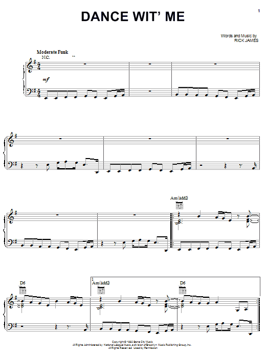 Rick James Dance Wit' Me sheet music notes and chords. Download Printable PDF.