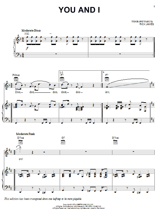 Rick James You And I sheet music notes and chords. Download Printable PDF.