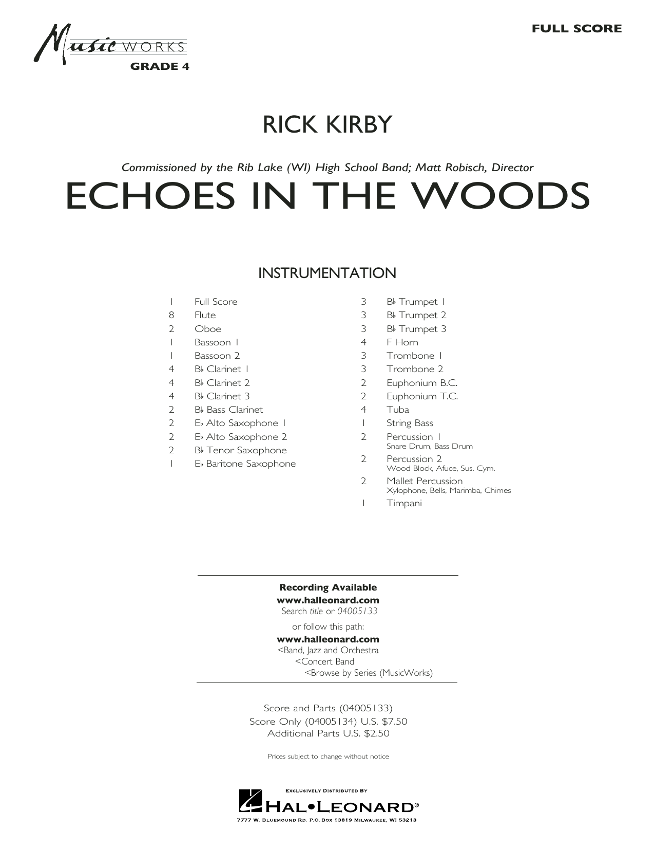 Rick Kirby Echoes in the Woods - Conductor Score (Full Score) sheet music notes and chords. Download Printable PDF.