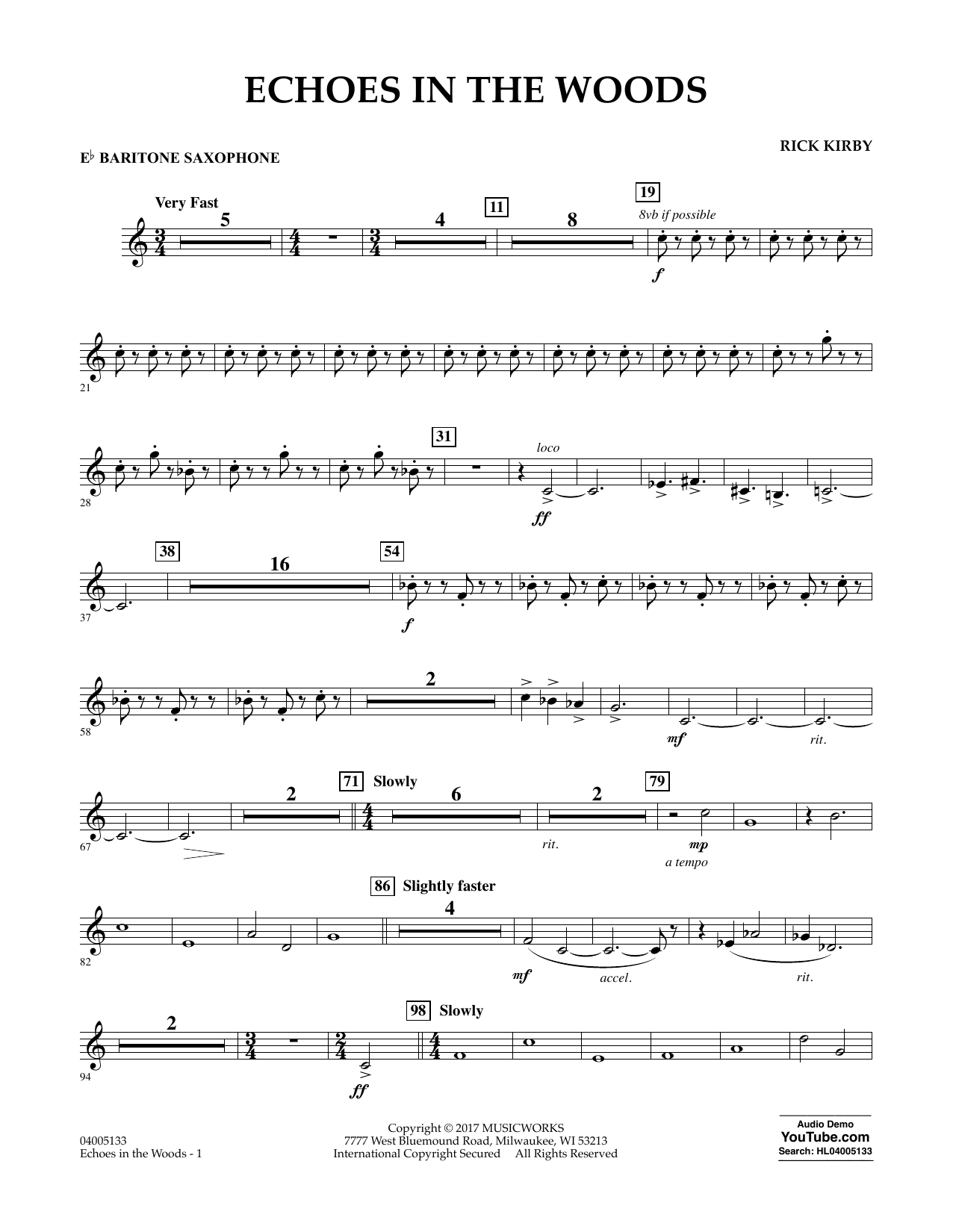 Rick Kirby Echoes in the Woods - Eb Baritone Saxophone sheet music notes and chords. Download Printable PDF.
