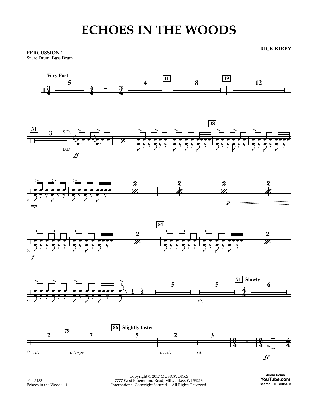 Rick Kirby Echoes in the Woods - Percussion 1 sheet music notes and chords. Download Printable PDF.