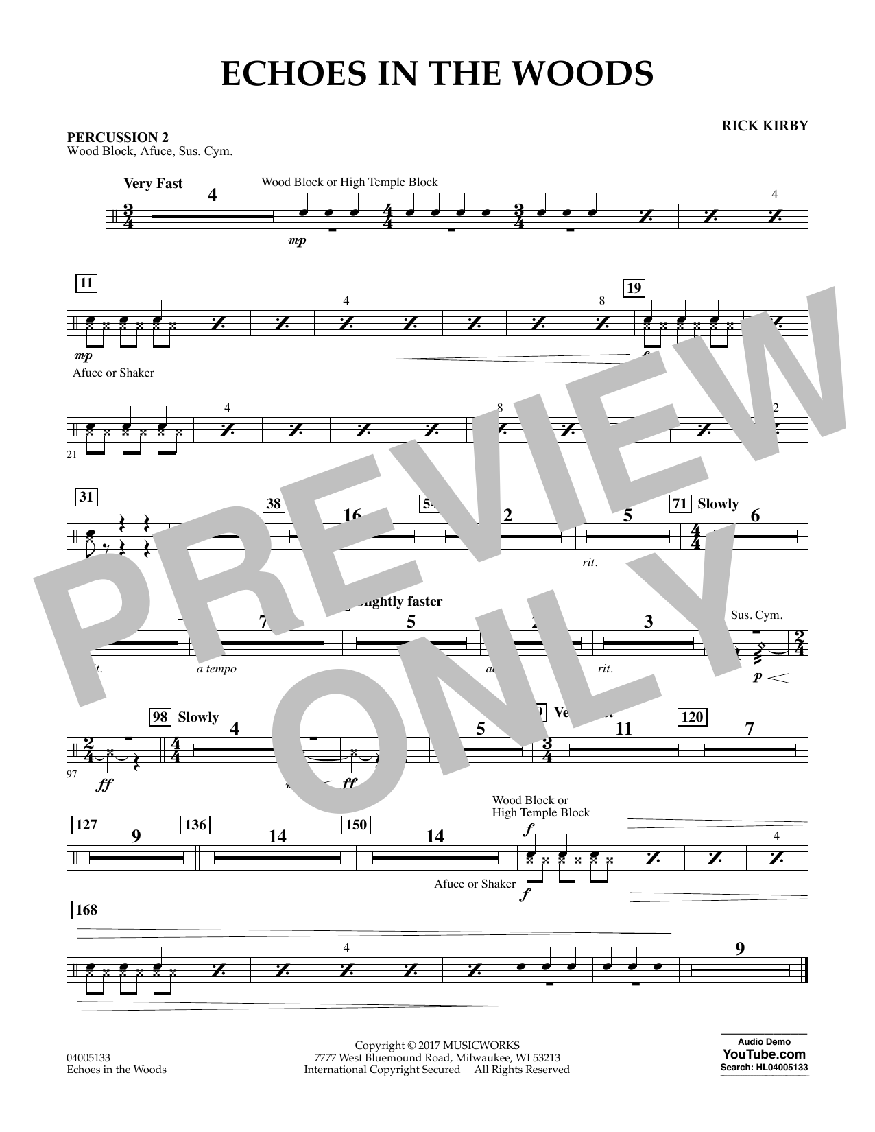Rick Kirby Echoes in the Woods - Percussion 2 sheet music notes and chords. Download Printable PDF.