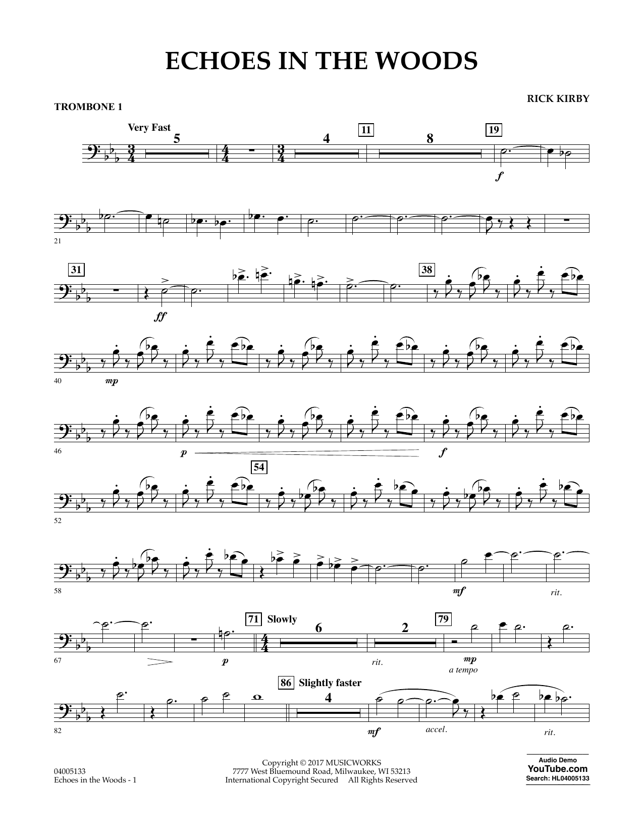 Rick Kirby Echoes in the Woods - Trombone 1 sheet music notes and chords. Download Printable PDF.