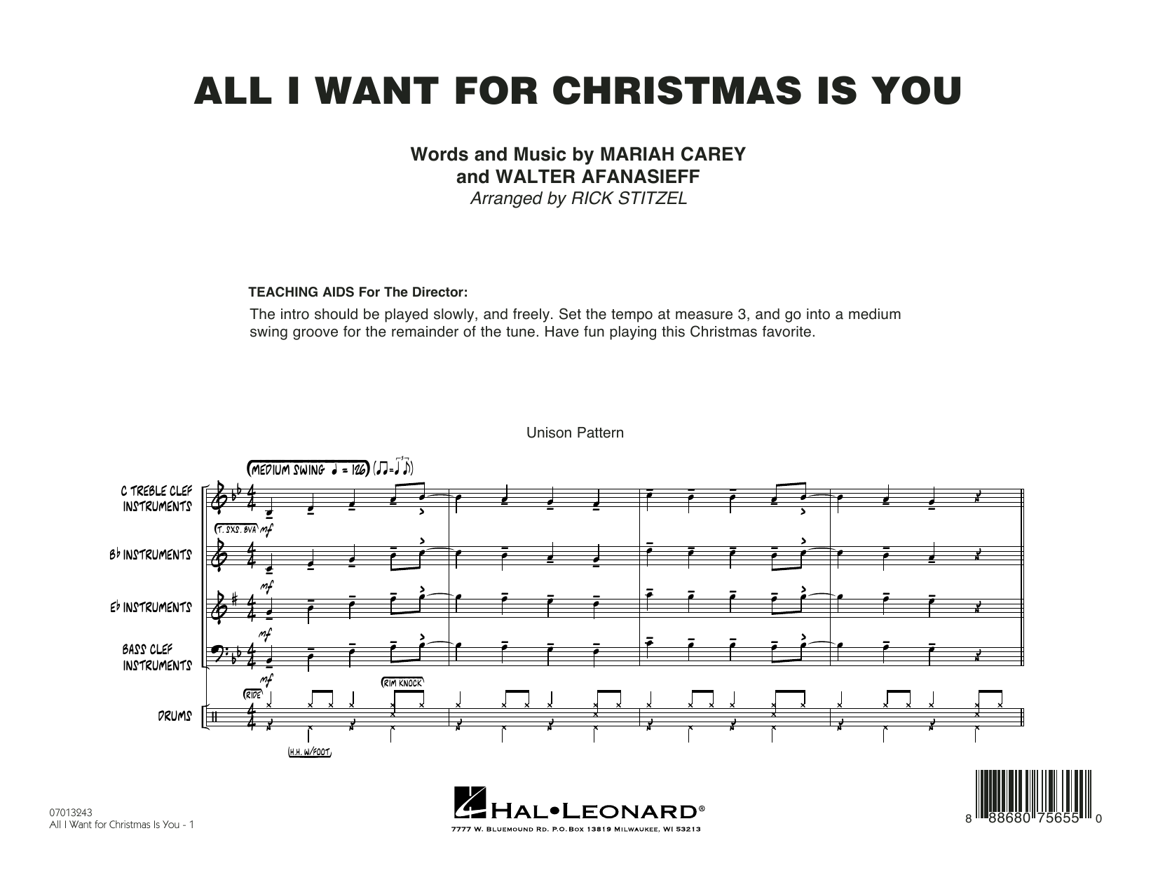 Rick Stitzel All I Want For Christmas Is You - Conductor Score (Full Score) sheet music notes and chords. Download Printable PDF.