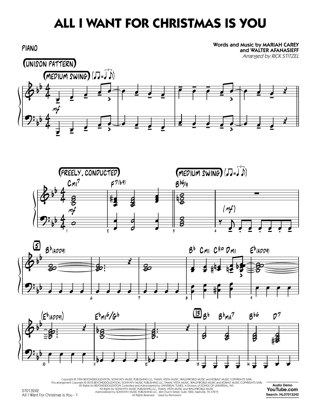 Rick Stitzel All I Want For Christmas Is You - Piano sheet music notes and chords. Download Printable PDF.