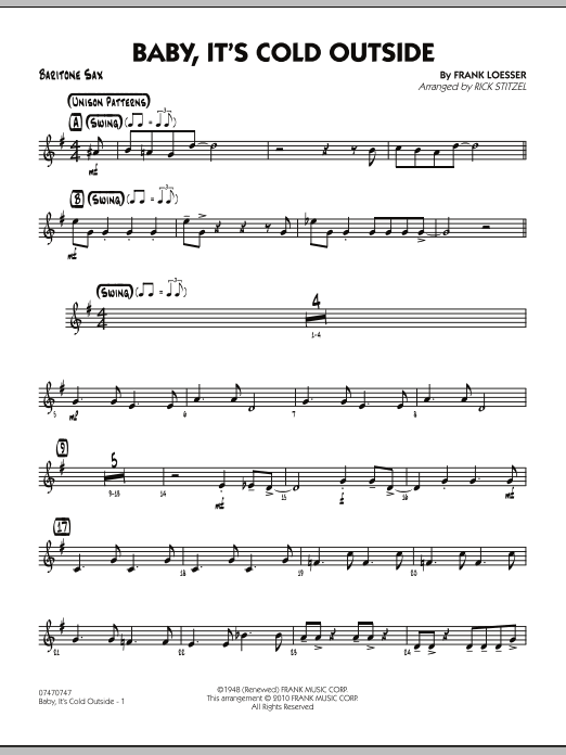 Rick Stitzel Baby, It's Cold Outside - Baritone Sax sheet music notes and chords. Download Printable PDF.