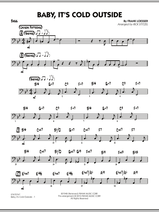 Rick Stitzel Baby, It's Cold Outside - Bass sheet music notes and chords. Download Printable PDF.