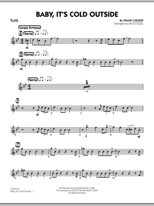 Rick Stitzel Baby It S Cold Outside Flute Sheet Music Notes