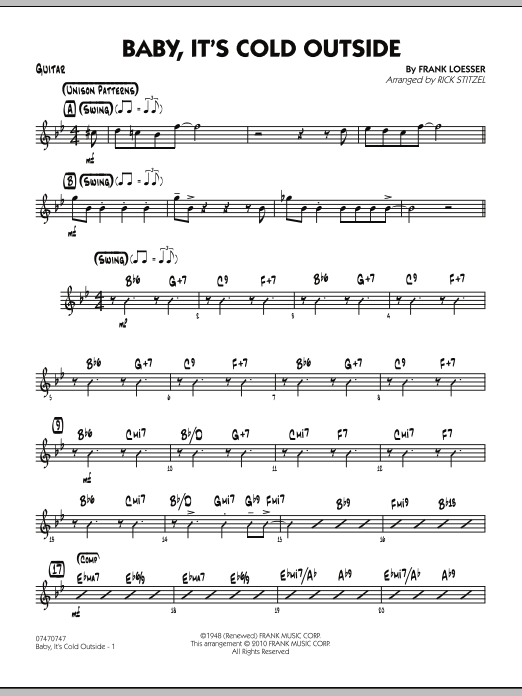 Rick Stitzel Baby, It's Cold Outside - Guitar sheet music notes and chords. Download Printable PDF.