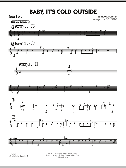 Rick Stitzel Baby, It's Cold Outside - Tenor Sax 1 sheet music notes and chords