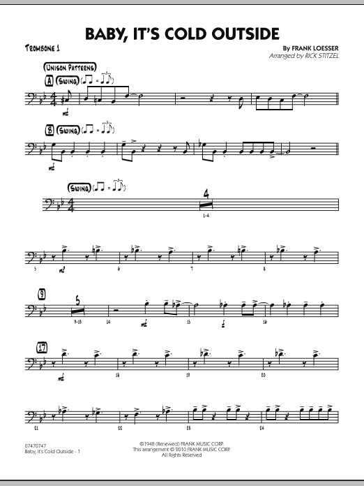 Rick Stitzel Baby, It's Cold Outside - Trombone 1 sheet music notes and chords. Download Printable PDF.