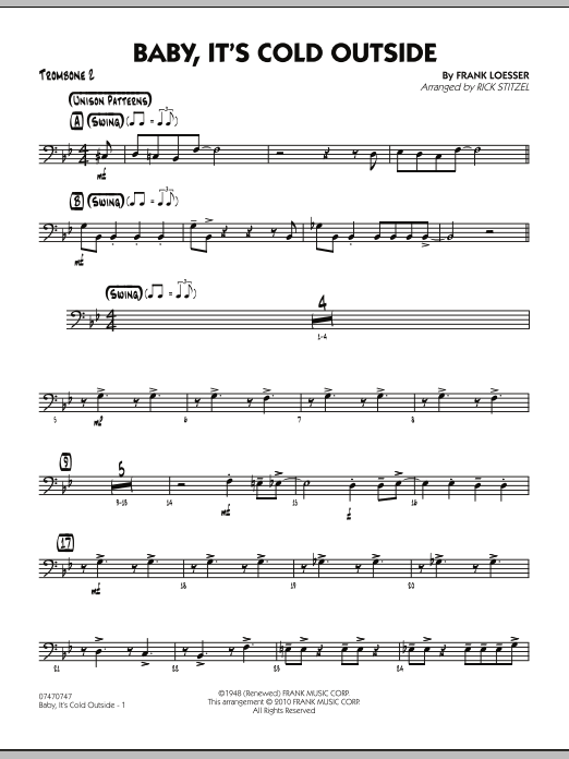 Rick Stitzel Baby, It's Cold Outside - Trombone 2 sheet music notes and chords. Download Printable PDF.