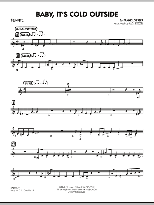 Rick Stitzel Baby, It's Cold Outside - Trumpet 1 sheet music notes and chords. Download Printable PDF.