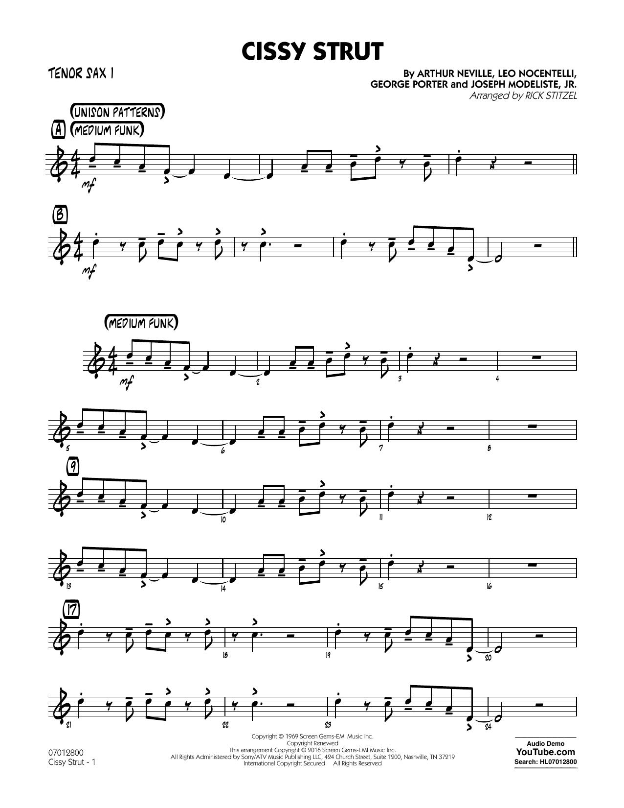 Rick Stitzel Cissy Strut - Tenor Sax 1 sheet music notes and chords. Download Printable PDF.