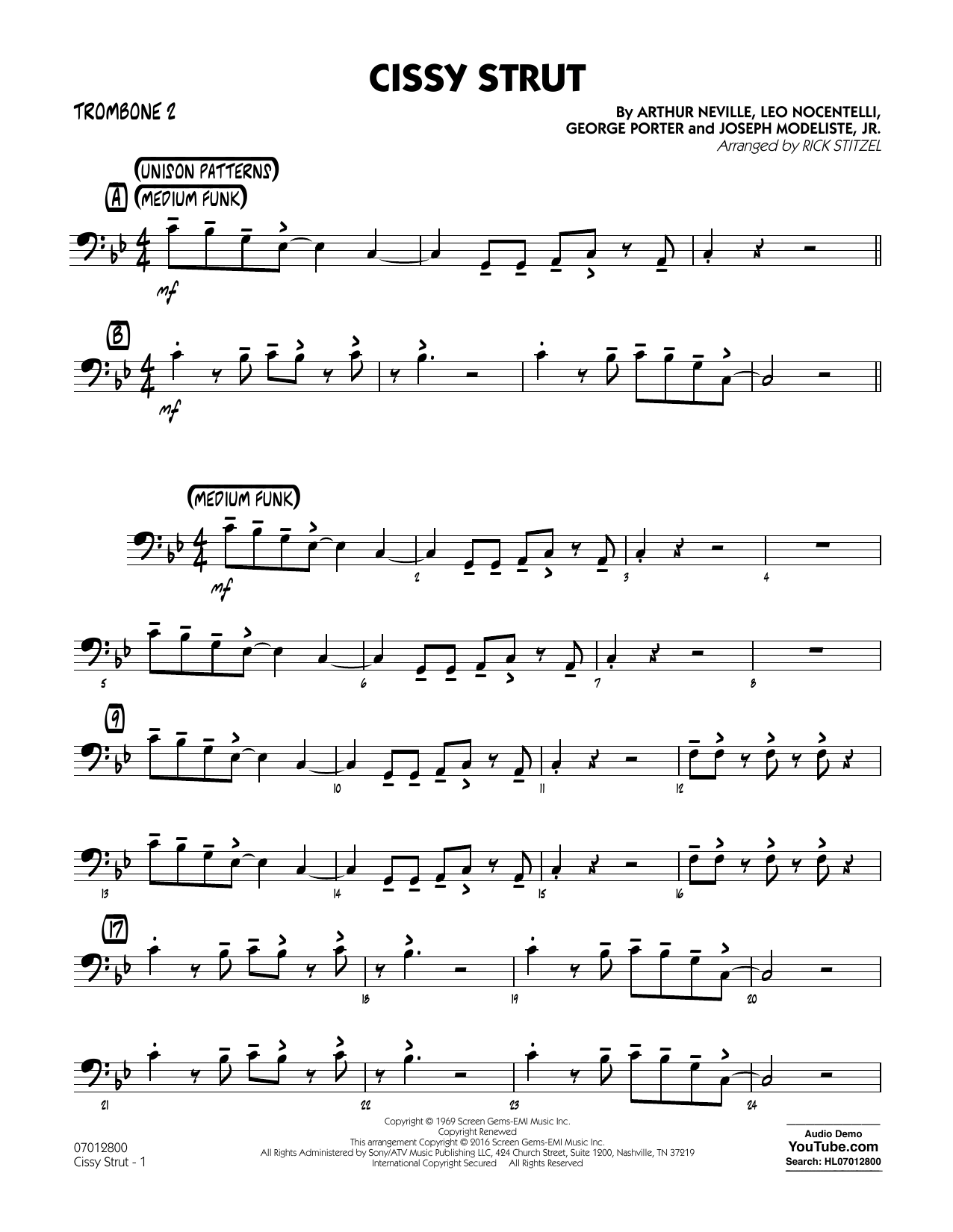 Rick Stitzel Cissy Strut - Trombone 2 sheet music notes and chords. Download Printable PDF.