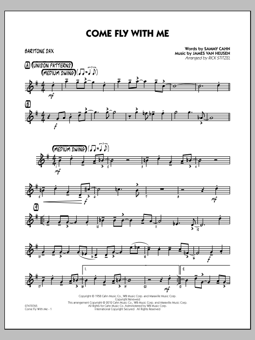 Rick Stitzel Come Fly With Me - Baritone Sax sheet music notes and chords. Download Printable PDF.